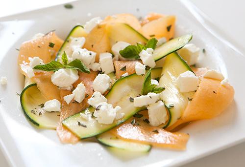 Cantaloupe & Zucchini Carpaccio with Feta & Mint