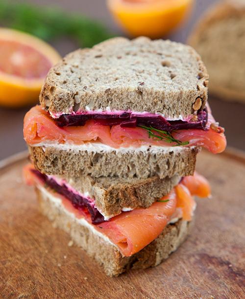 Smoked Salmon, Beet and Cream Cheese Sandwich