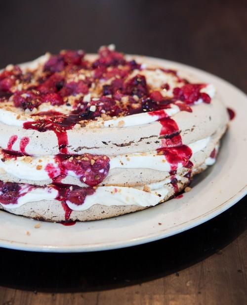 Almond, Chocolate and Berry Pavlova