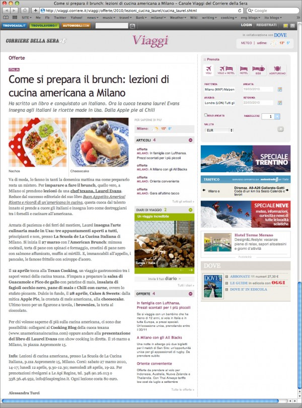 Corriere.it – American cooking lessons