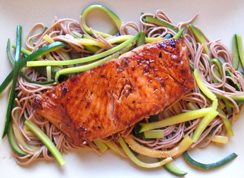 Seared Salmon with Soba and Zucchini