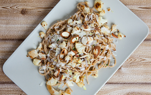 Spaghetti with Roasted Cauliflower and Almonds