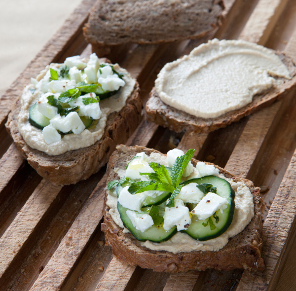 Hummus, Feta and Mint Crostini