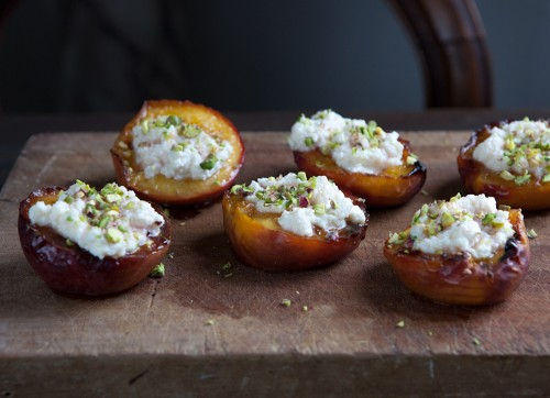 Broiled Peaches with Ricotta and Pistachios