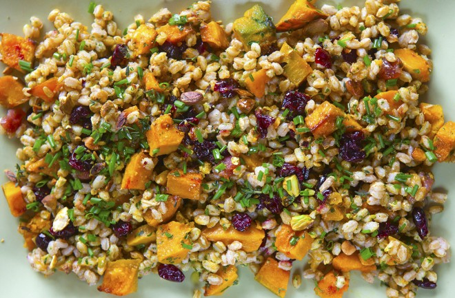 Farro salad with roasted squash and pistachios