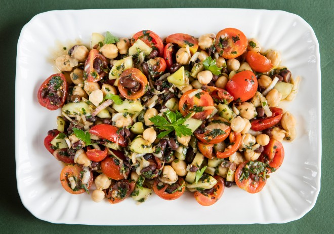 Black bean and chickpea salad