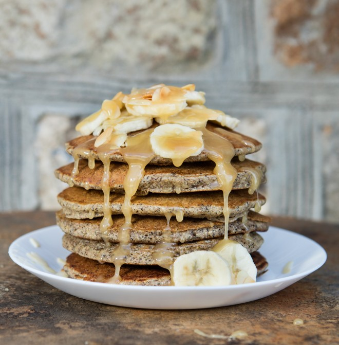 Buckwheat pancakes with banana and honey