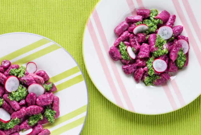 Beet and ricotta gnocchi with beet green pesto