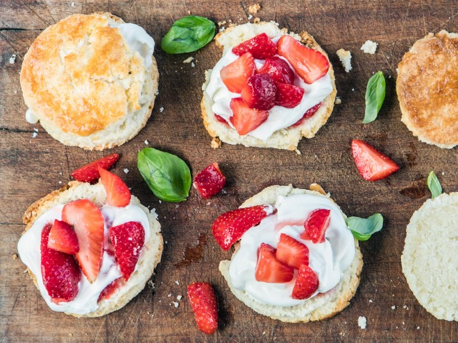 Strawberry Shortcakes with Basil