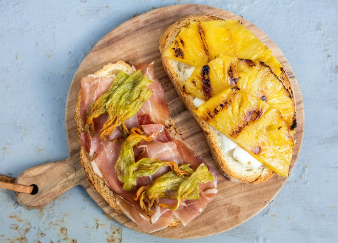 Grilled pineapple and Speck Sandwich with Fresh Mozzarella and Zucchini Flowers