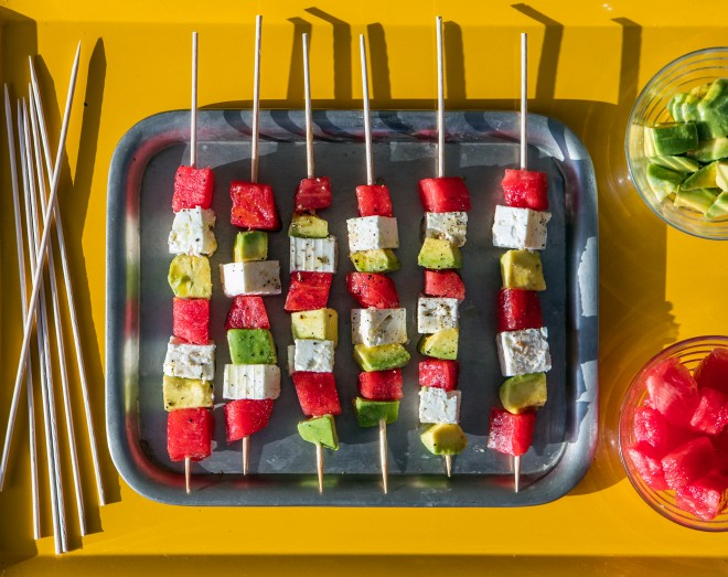 Watermelon skewers with avocado and feta