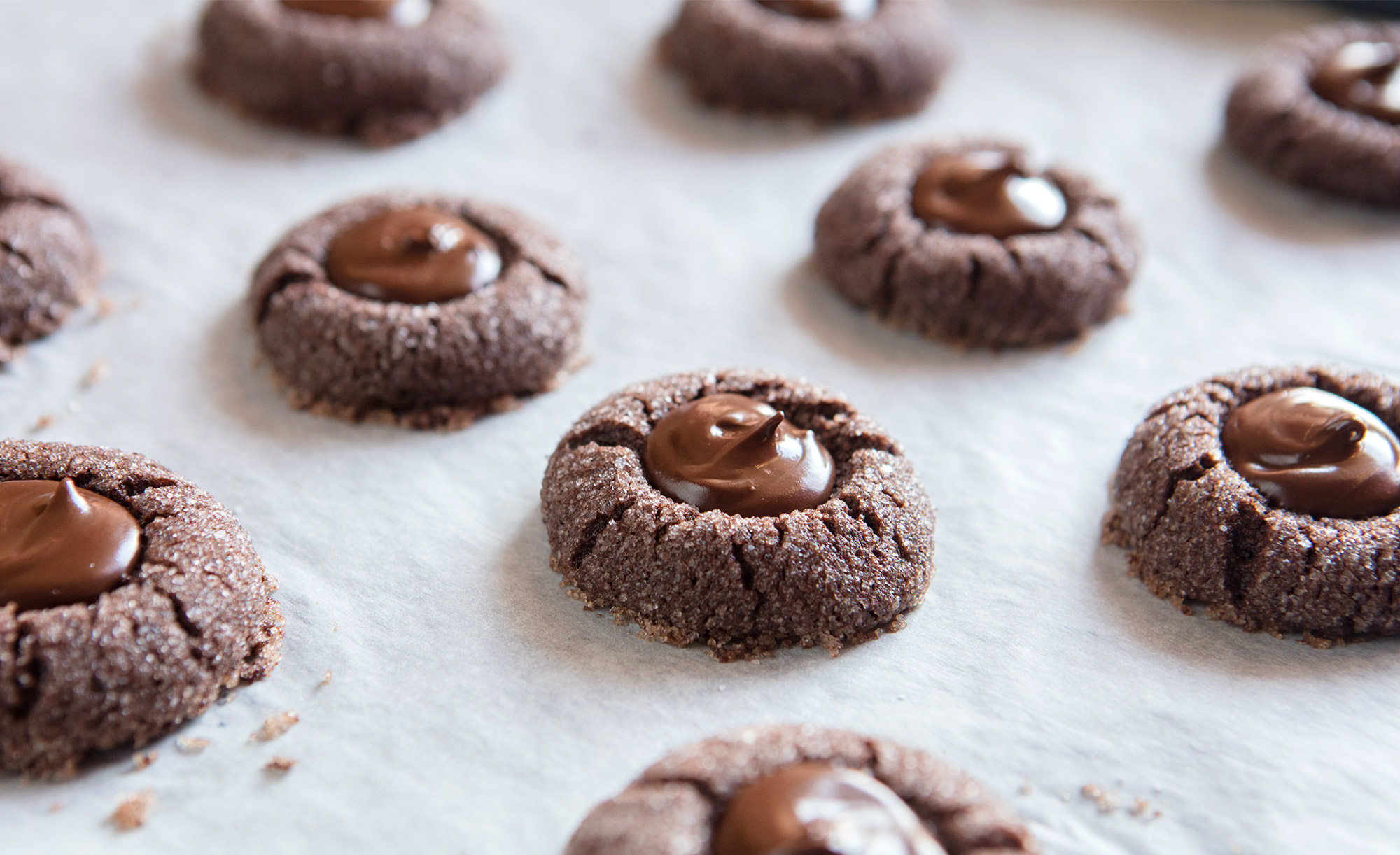 Chocolate and Peppermint Thumbprint Cookies